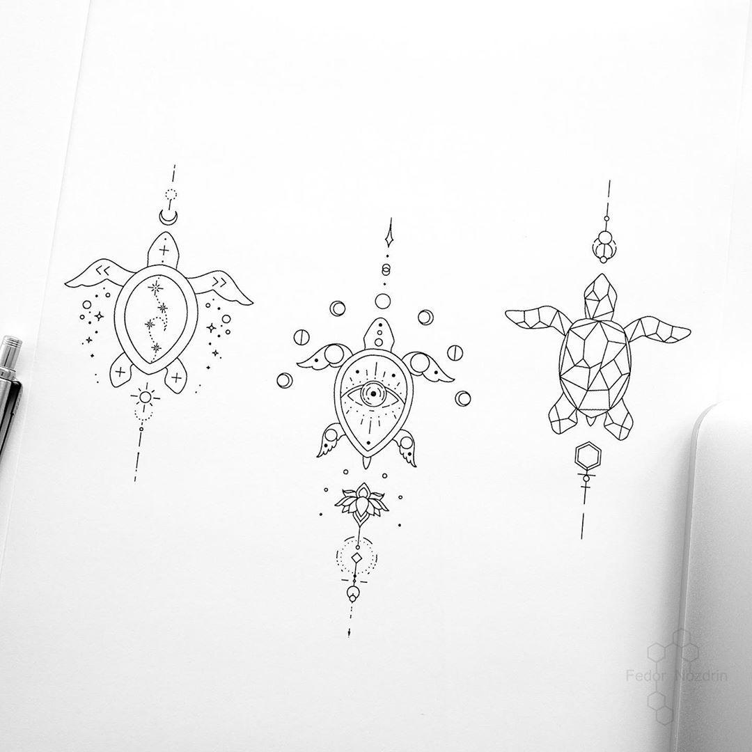 "Photo of © Tattoo Artist Fedor Nozdrin on Instagram: ""Available designs. . . . #geometrictattoo #geometrictattoodesign #turtletattoo #eyetattoo #wavetattoo #tinytattoo #tinylines #singleneedle…"""