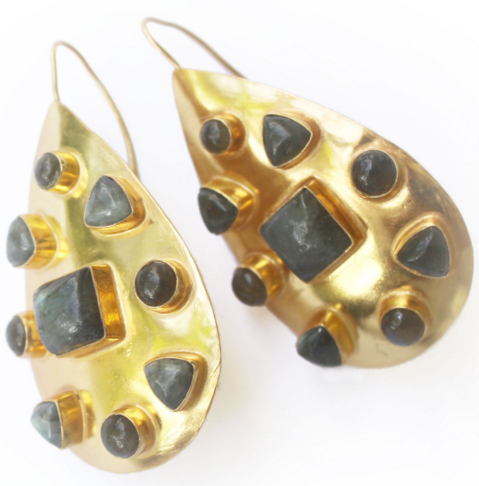 Vezoora Gold Earrings  with Labradorite Hammered 24kt Heavy gold plate earrings with gemstones.