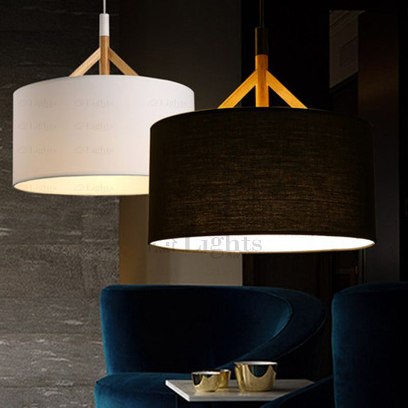 Brief Drum Pendant Light Fabric Shade Black in 2019  44738ae3901a