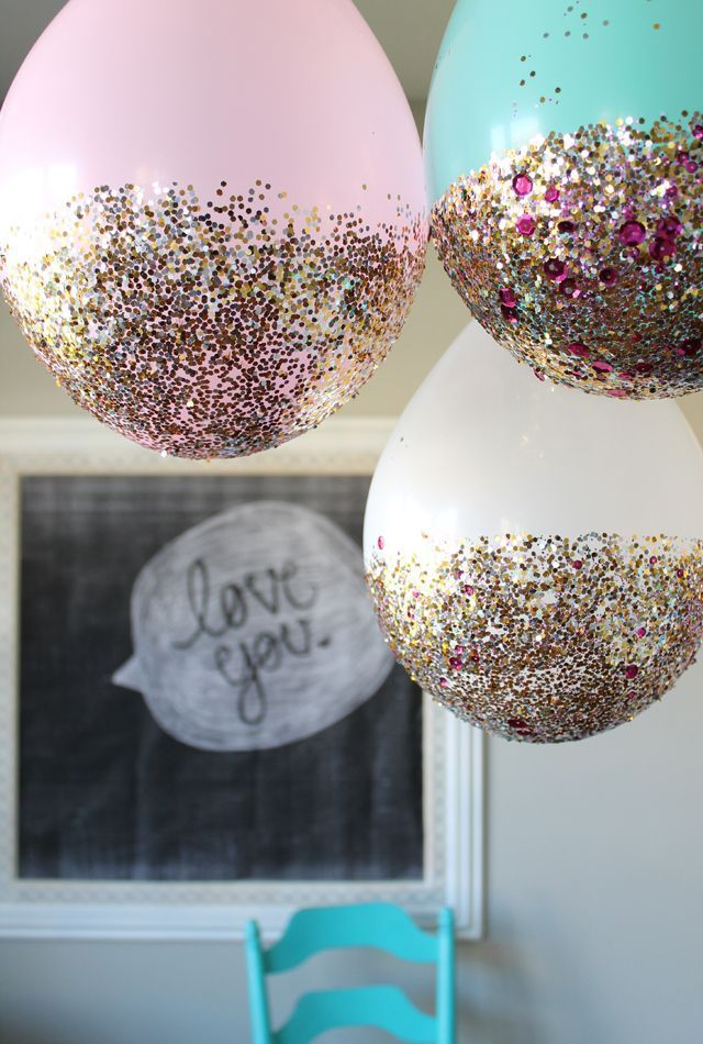Awesome diy glitter dipped balloons pretty party decoration for  birthday bridal shower or baby fun project you can do at home also balloon hacks decor ideas pinterest rh in