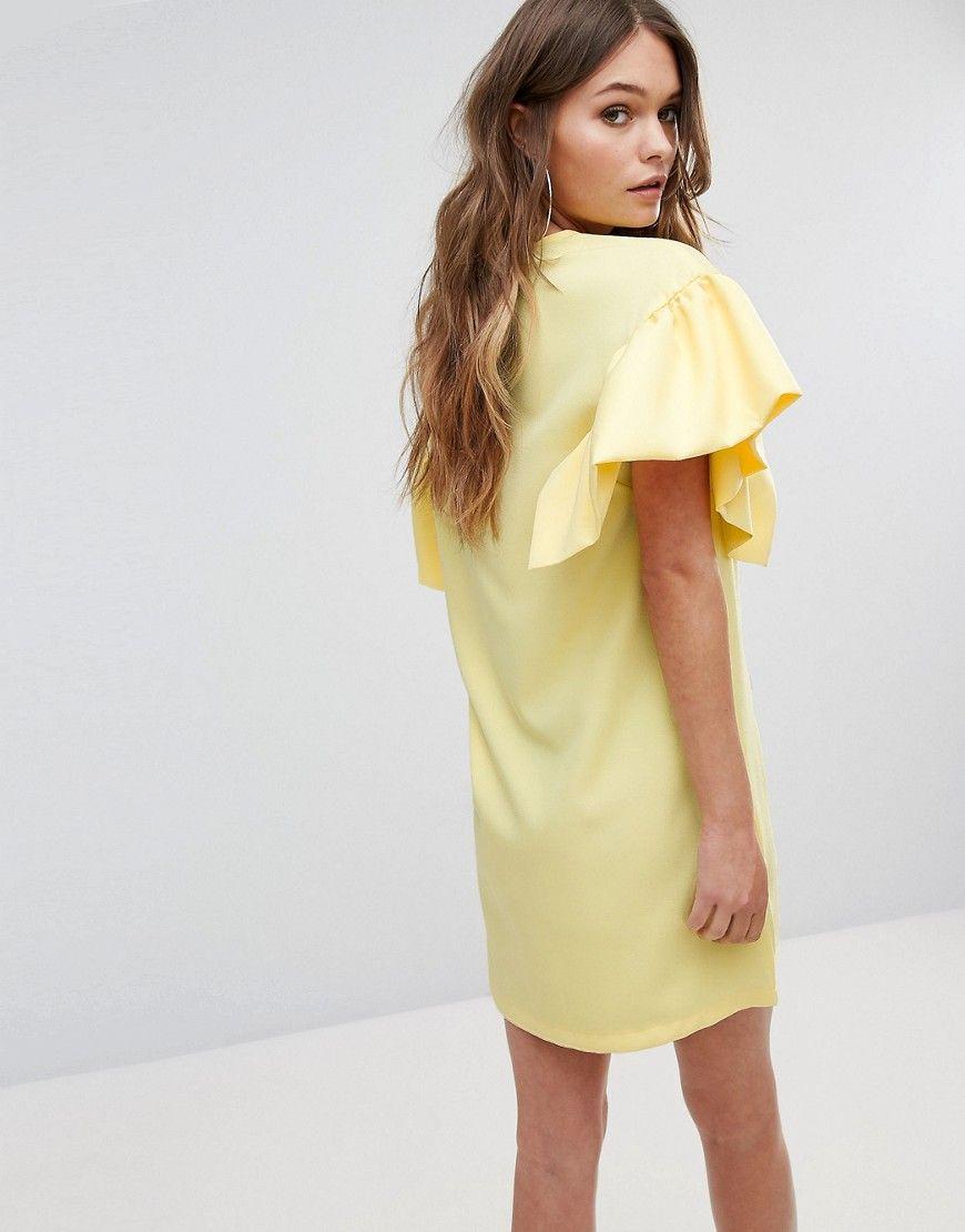 84b88dd138e8 Boohoo Ruffle Sleeve Shift Dress - Yellow | Products | Latest ...