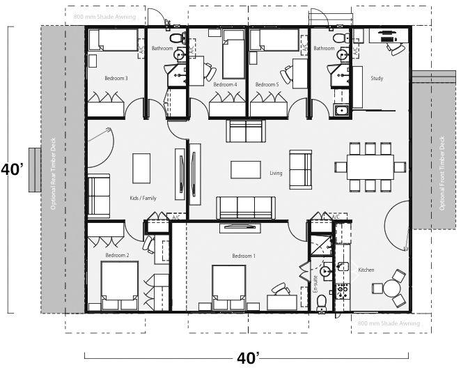 5 bedroom 3 bathroom building layout....would make this 4 bedroom ...