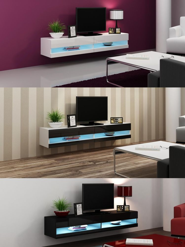 High gloss tv stand cabinet with led lights entertainment floating wall unit entertainment for Floating tv stand living room furniture