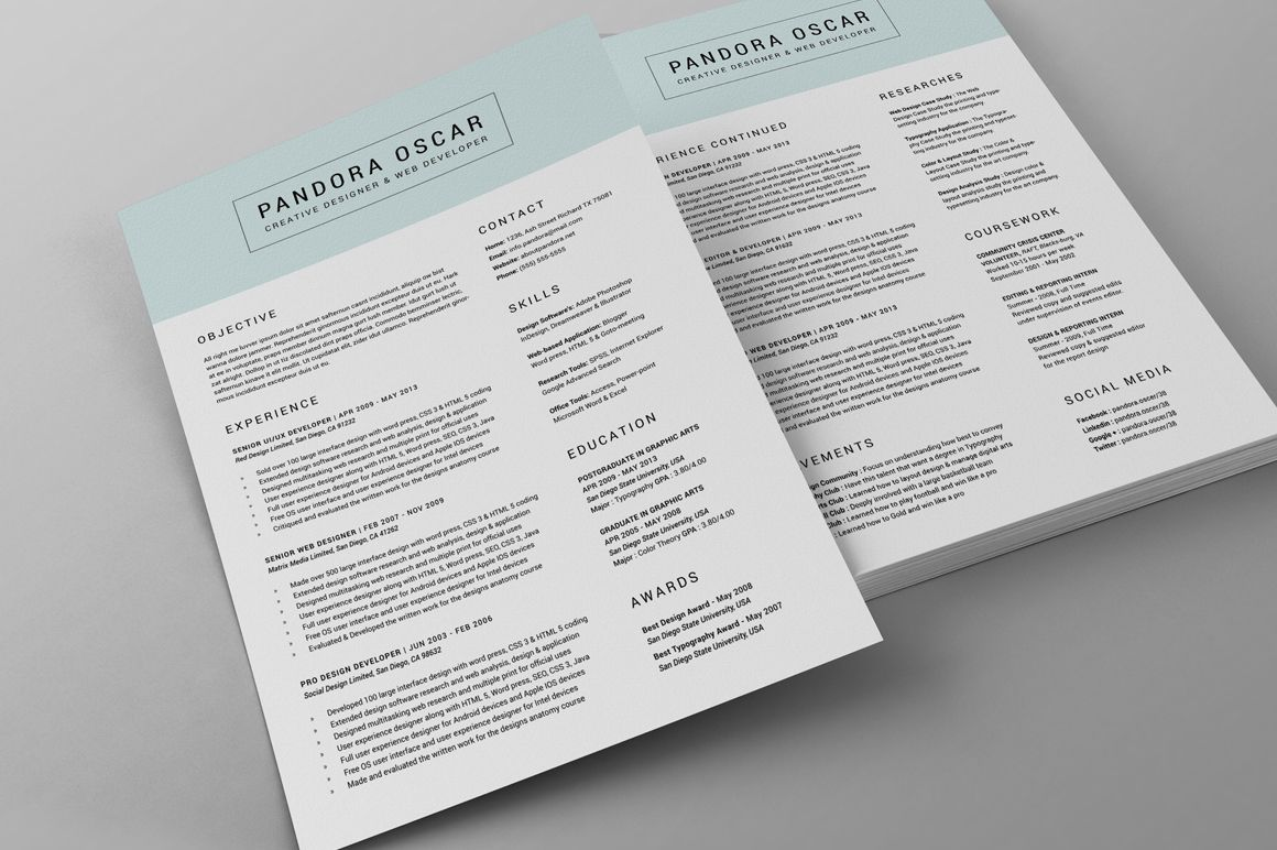 2 pages clean resume cv pandora by snipescientist on creative