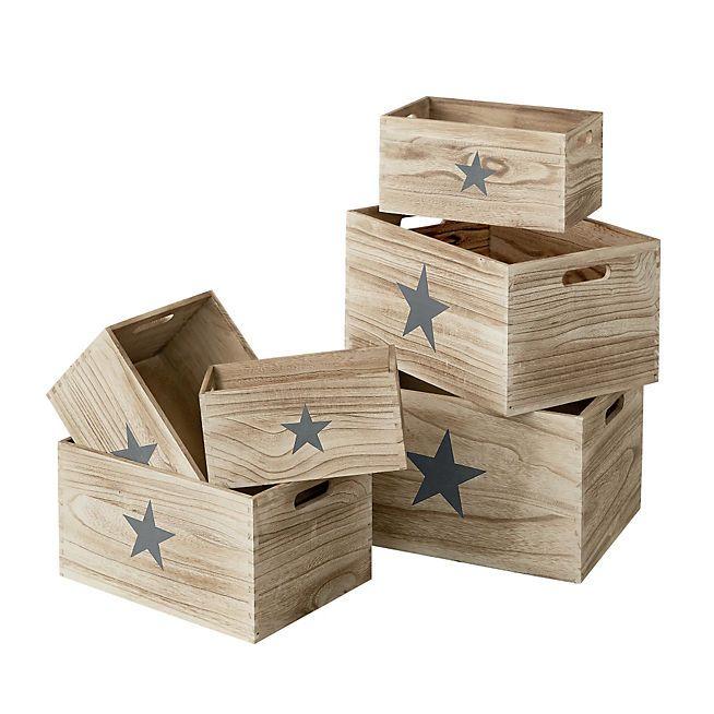 star caisse de rangement en bois 20x27x37cm diff rentes. Black Bedroom Furniture Sets. Home Design Ideas