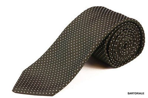 KITON Napoli Hand-Made Seven Fold Green Woven Polka-Dot Textured Silk Tie NEW