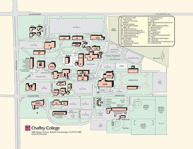 Campus Map Chaffey College Info Pinterest