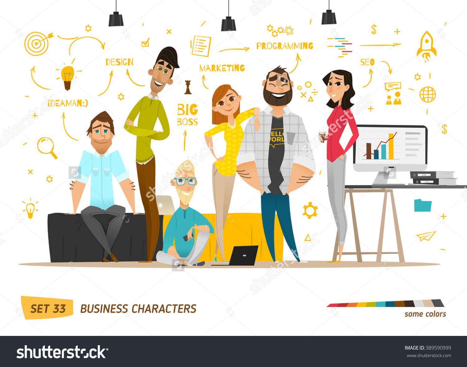 Business Characters Scene. Teamwork In Modern Business Office. Stock Vector Illustration 389590999 : Shutterstock