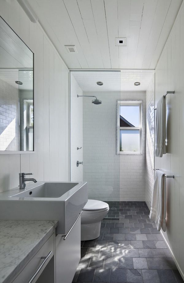 designed long bathrooms. Beautiful lake house designed by Robert Young Architects  Grey