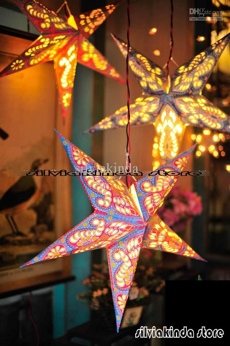 Decorative paper lanterns with lights ideas home lighting design 60cm24inch 50pcslot paper star light hanging lantern handmade decoration india brand new junglespirit Gallery