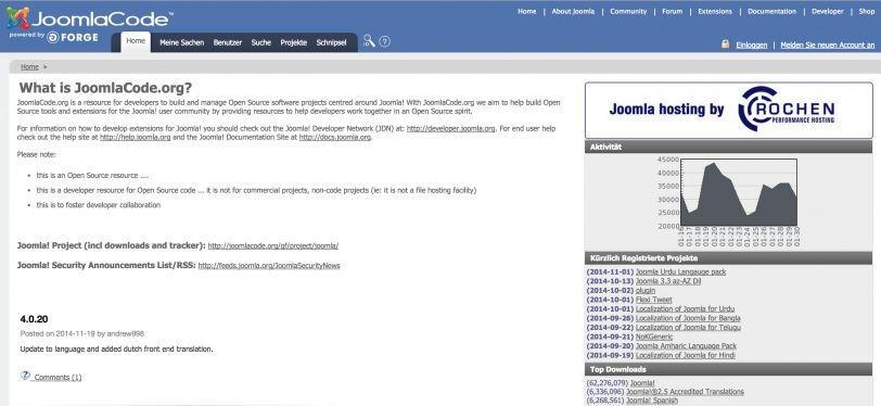 joomlacode.org wird geschlossen