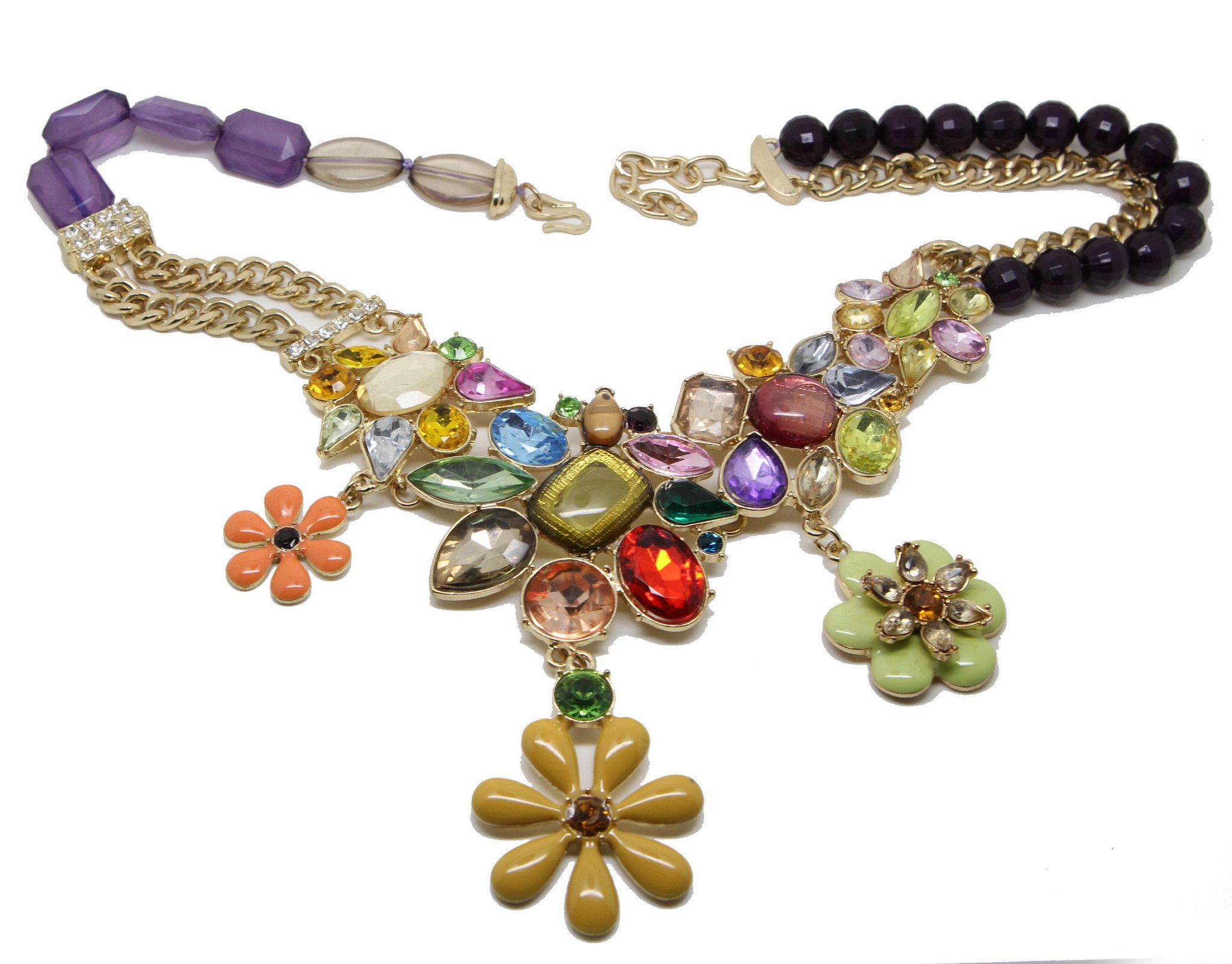 Bold and Bold Colours flower Statement Necklace Made of stunning sparkly glass and acrylic rhinesto