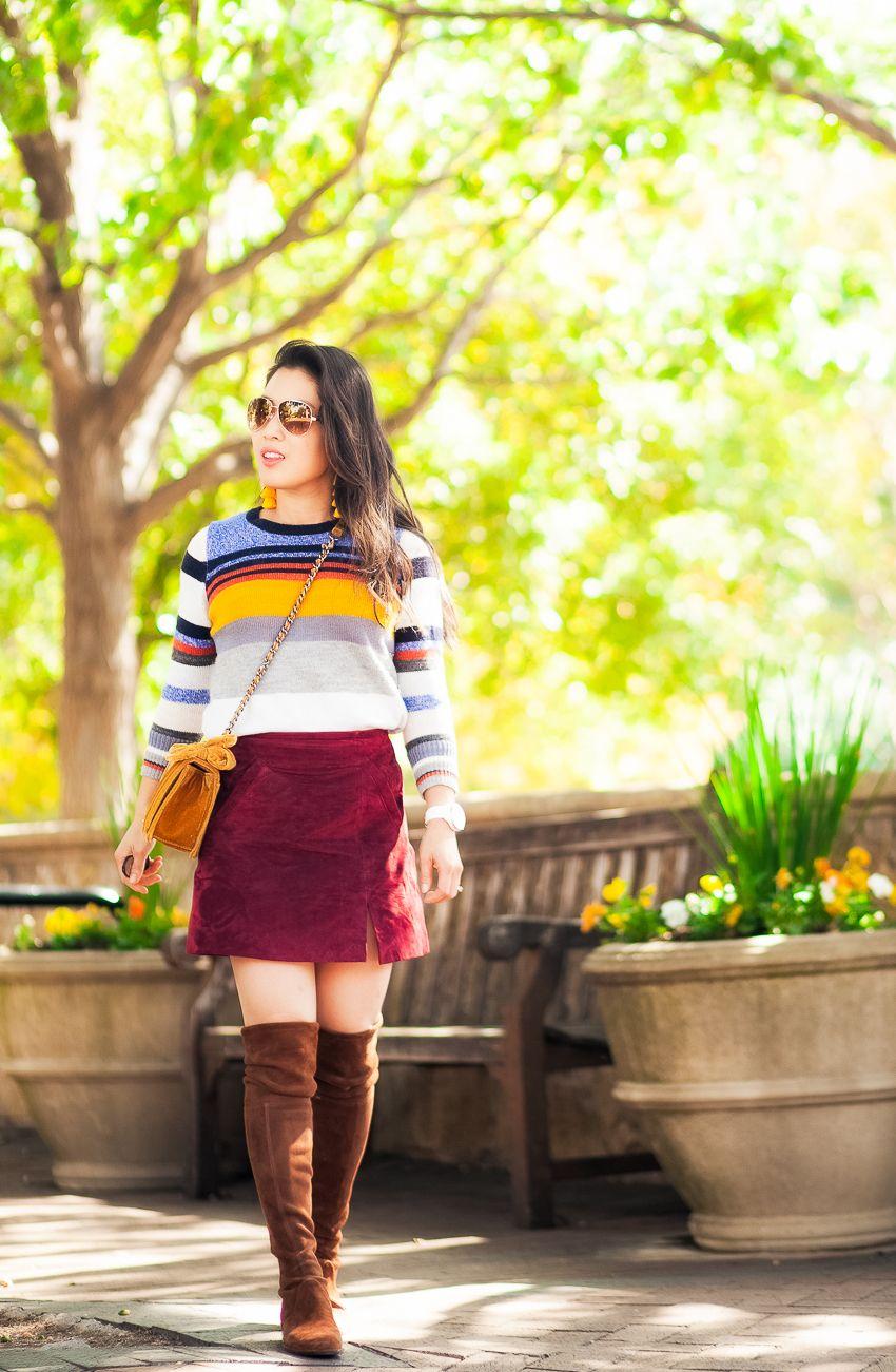 8ba614aee0 cute & little | loft striped sweater, burgundy suede mini skirt, stuart  weitzman