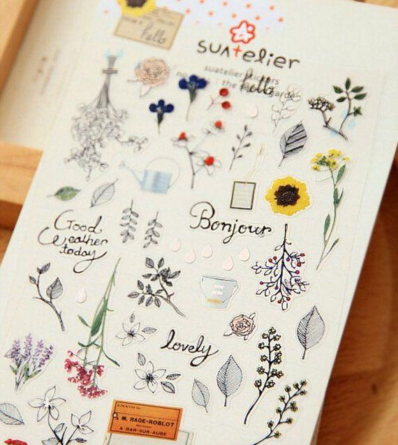 Fresh leafy planner stickers scrapbooking stickers die cut stickers cute stationery korean