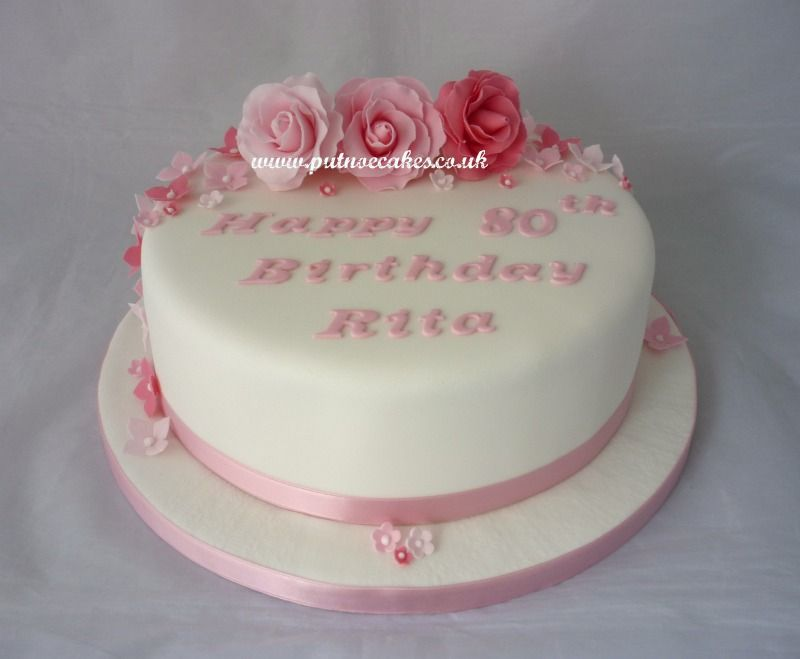 Ladies Pretty In Pink 80th Birthday Cake Cakes Pinterest