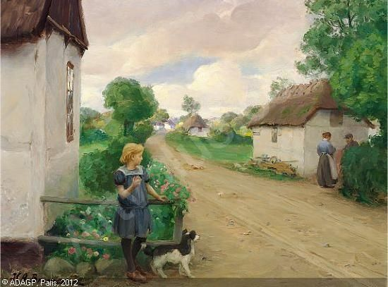 Hans Andersen Brendekilde 1857 1942 Landsbygade Med En Pige Der Betragter Et Aeldre Aegtepar Malerier Plakater Pige
