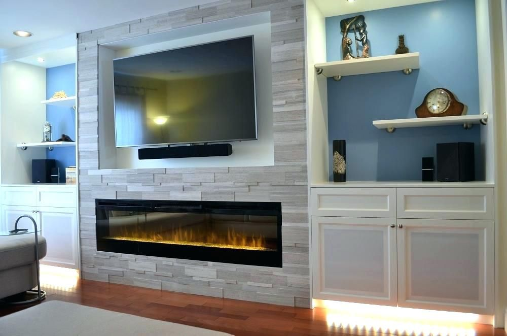 Image result for low linear fireplace on bump out with tv