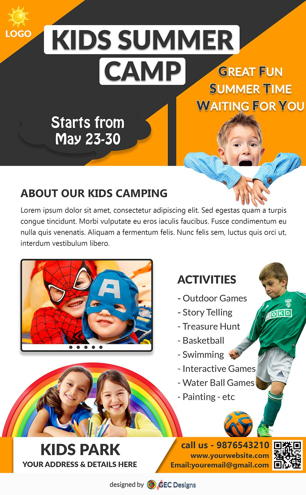 Download Free flyer templates (With images) Summer camps