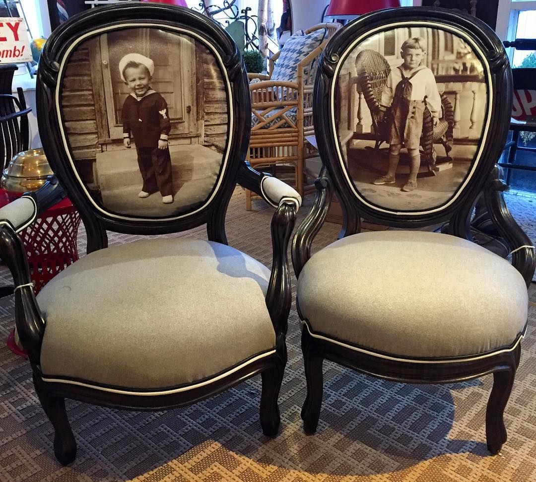 Pair Of Victorian Parlor Chairs Upholstered In U0027sailor Boyu0027 Giclees. For  Sale #