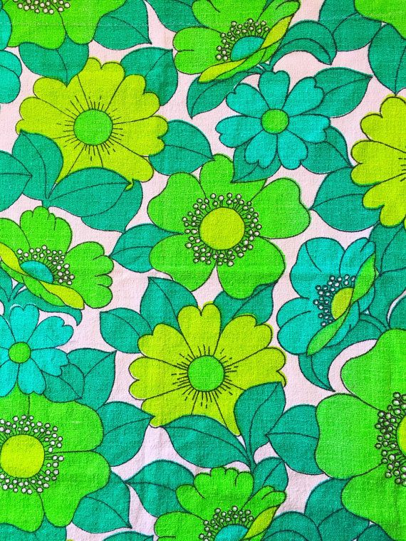 60s mod floral fabric swedish bold pattern in great by Inspiria