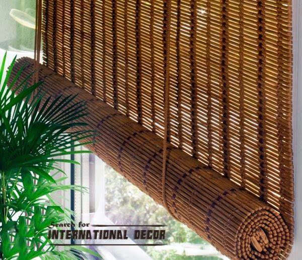 Cortinas de bambu para coberturas de janela no interior for Donde venden cortinas