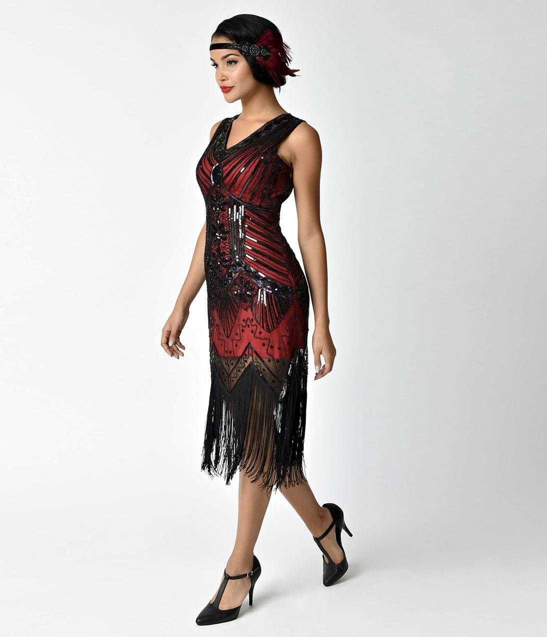 Unique Vintage 1920s Deco Red   Black Veronique Fringe Flapper Dress 3a6aef3ff