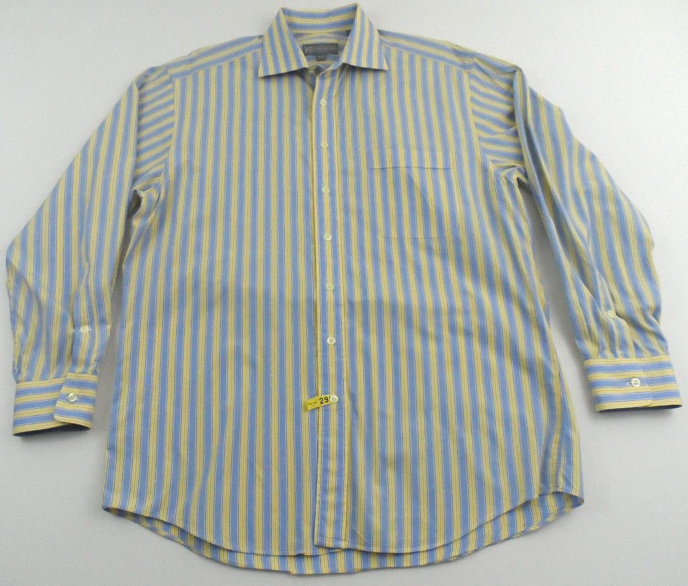 3f06cf6f17 Hickey Freeman Striped Dress Long Sleeve Shirt Size 16 34 L Yellow Blue  Cotton #HickeyFreeman #FlatFront