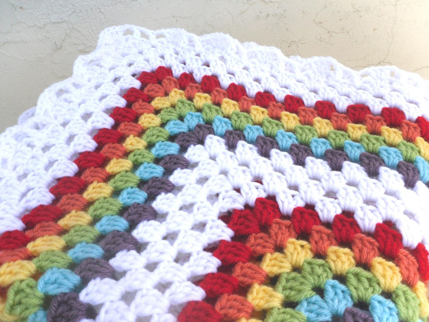 Crochet Baby Afghan Patterns For Beginners : Double Rainbow Granny Square Crochet Baby Blanket Afghan ...