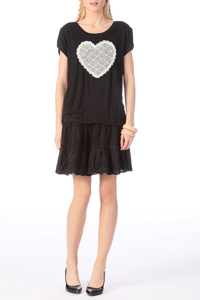 Top perles et strass Floriane Noir Molly Bracken en promotion sur MonShowroom.com