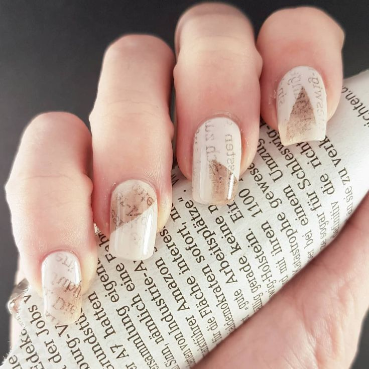 25 Best Nail Art With Newspaper Print Pinterest