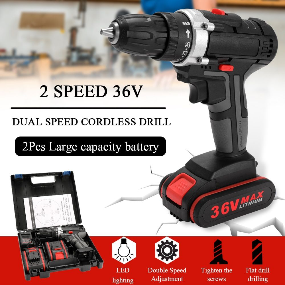 36v Cordless Drill 25 Torque Speed Adjustment Led Lighting Electric Drill Screwdriver Wrench Power Tool With 2 Li Ion Batte Cordless Drill Electric Drill Drill