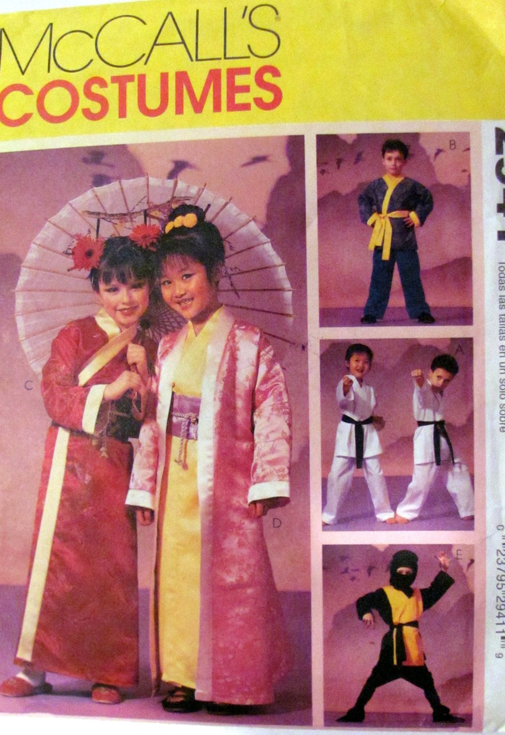 mccalls 2941 asian inspired childrens halloween costume pattern geisha girl kung fu karate unisex childrens sizes 3 to 8 unused by onceuponanheirloom