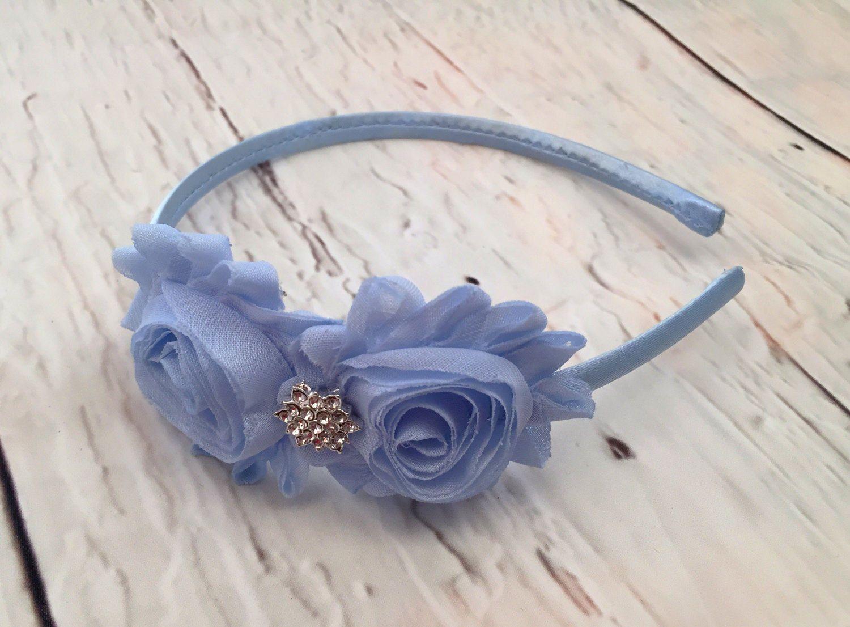 Blue Flower Headband Light Blue Shabby Chic Headband Baby Blue