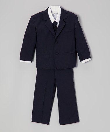 Navy Blue & White Five-Piece Suit - Infant, Toddler & Boys by ClassyKidzShop #zulily #zulilyfinds