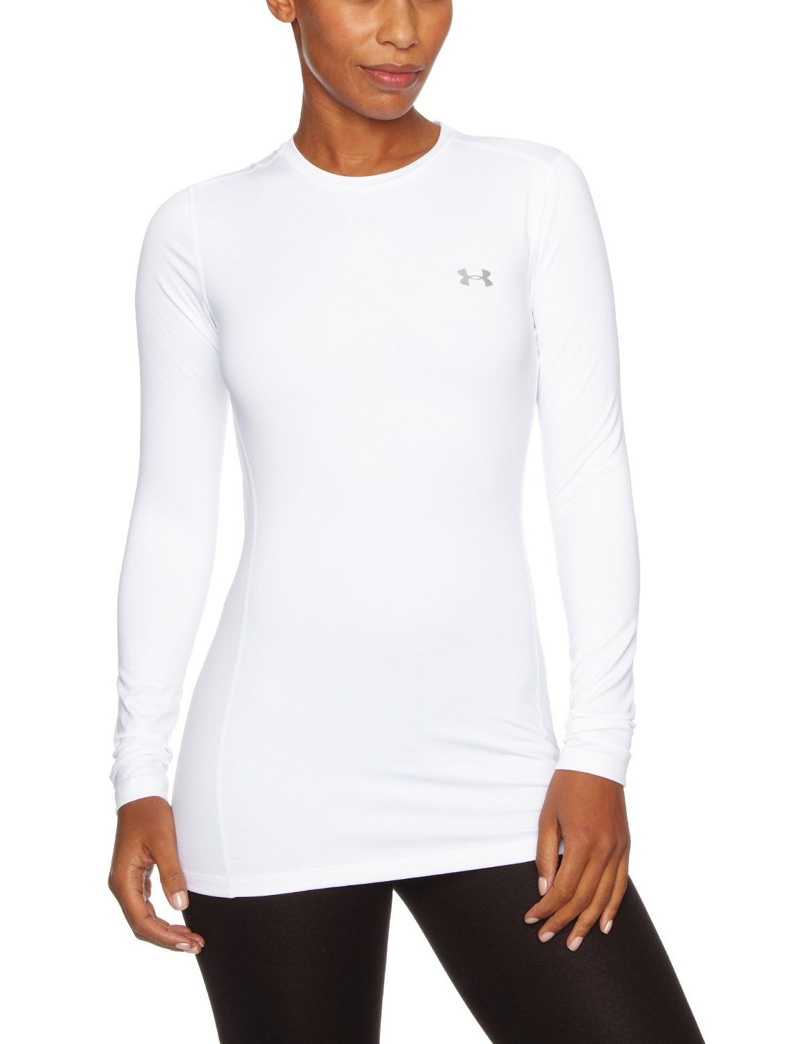 56c3e45a20400 UnderArmour Women's The CG Fitted Crew: Amazon.co.uk: Sports ...