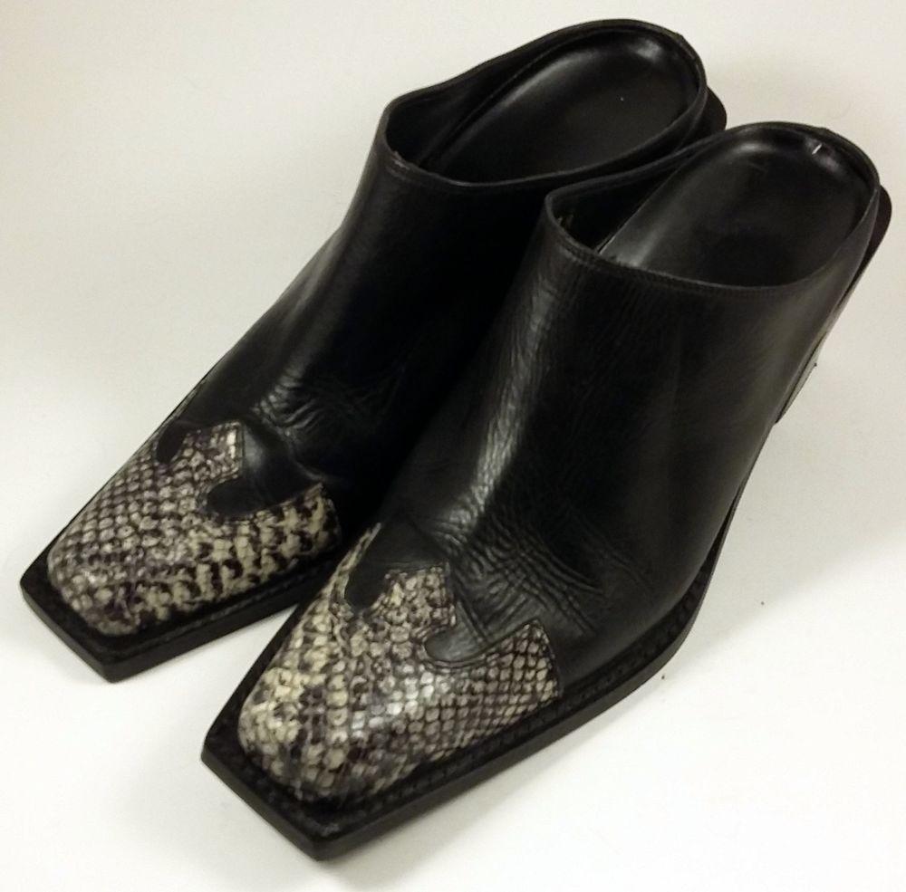 Cream Leather Cowgirl Cowboy Mule Heels