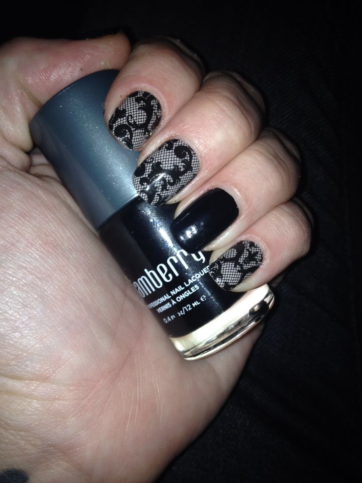 Black Fleur de lis Lace with Raven lacquer coated with Tru Shine - amandaflynn120.jamberry.com