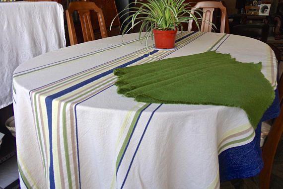 Etonnant Vintage Tablecloth And Napkins Cotton Cream Color Blue Denim