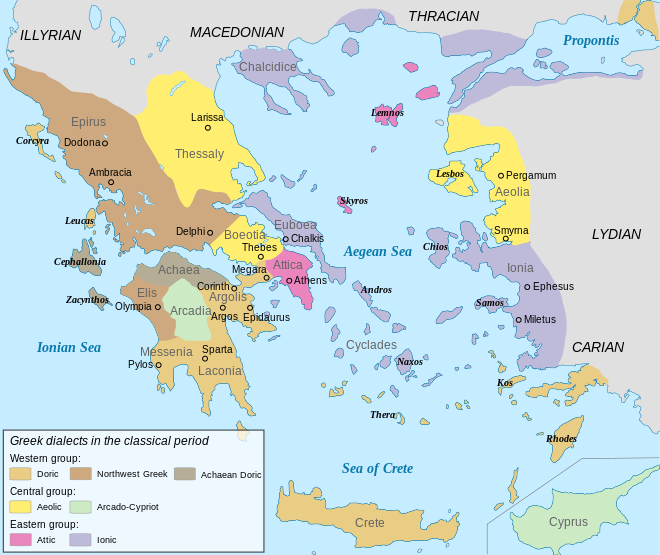 This Map Shows Different Dialects Of Greek During The Classical - Greek colonization archaic period map