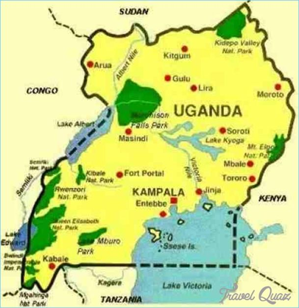 Uganda Map Tourist Attractions Httptravelquazcomugandamap - Uganda map