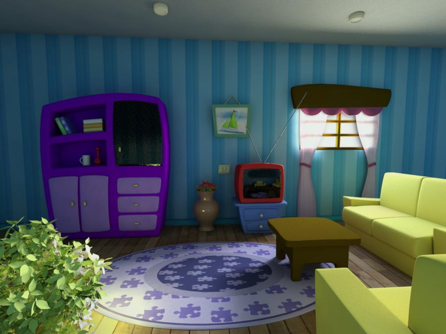 Fun cartoon Living room!! For Didi Pinterest Cartoon