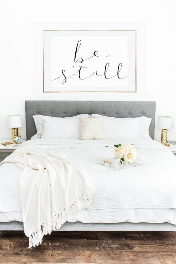 Be still printable wall art 5 jpegs bedroom decor for Bedroom wall designs for couples