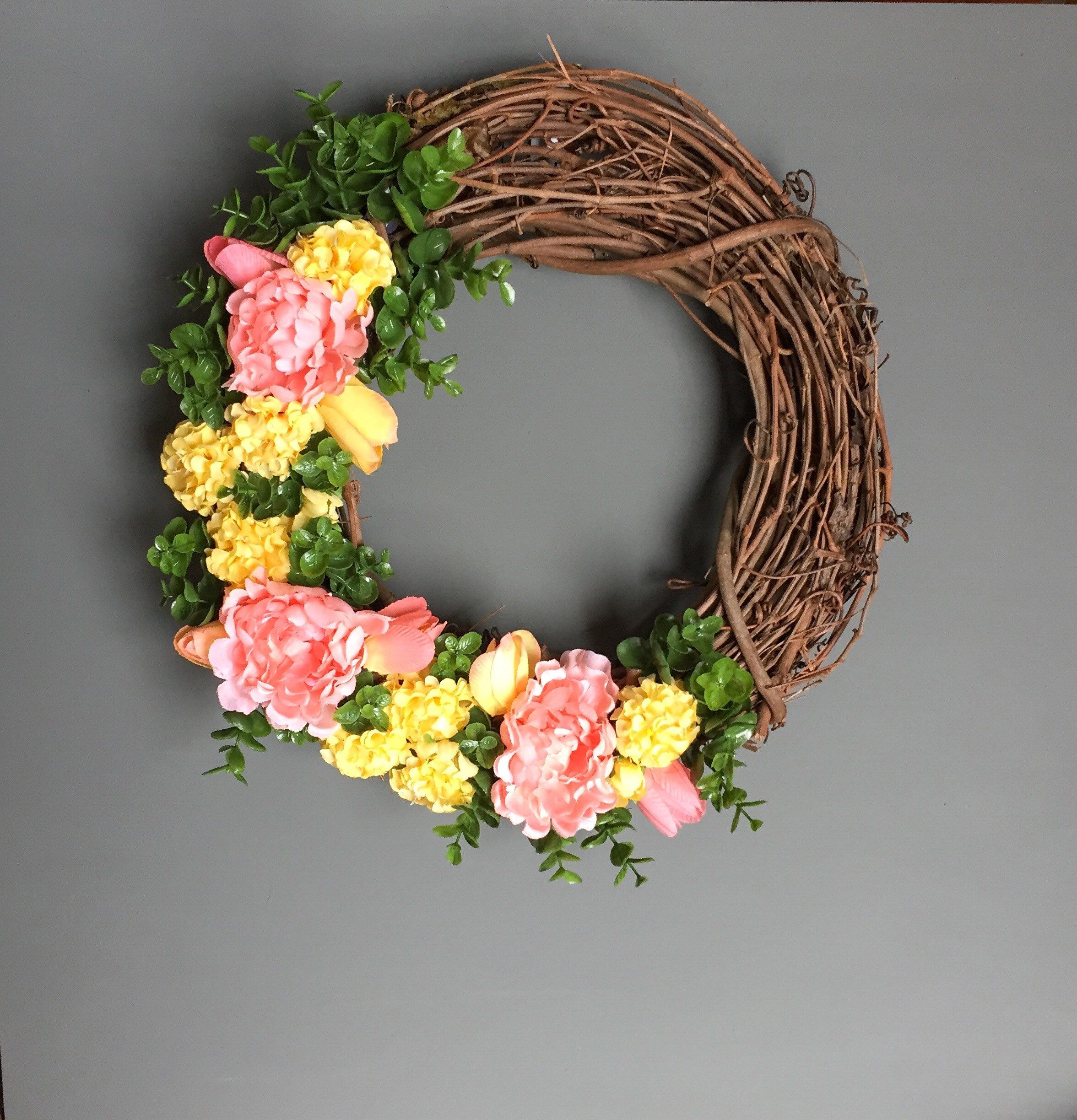 Photo of Spring Wreath for Front Door, Spring Door Wreath, Spring Grapevine Wreath, Rustic Spring Wreath, Peony Wreath, Housewarming Gift