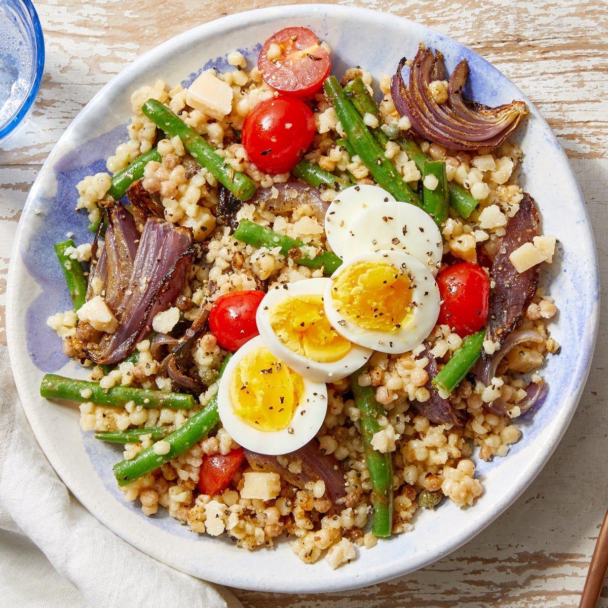 Summer Fregola Sarda Pasta with Green Beans, Tomatoes & Hard Boiled Eggs