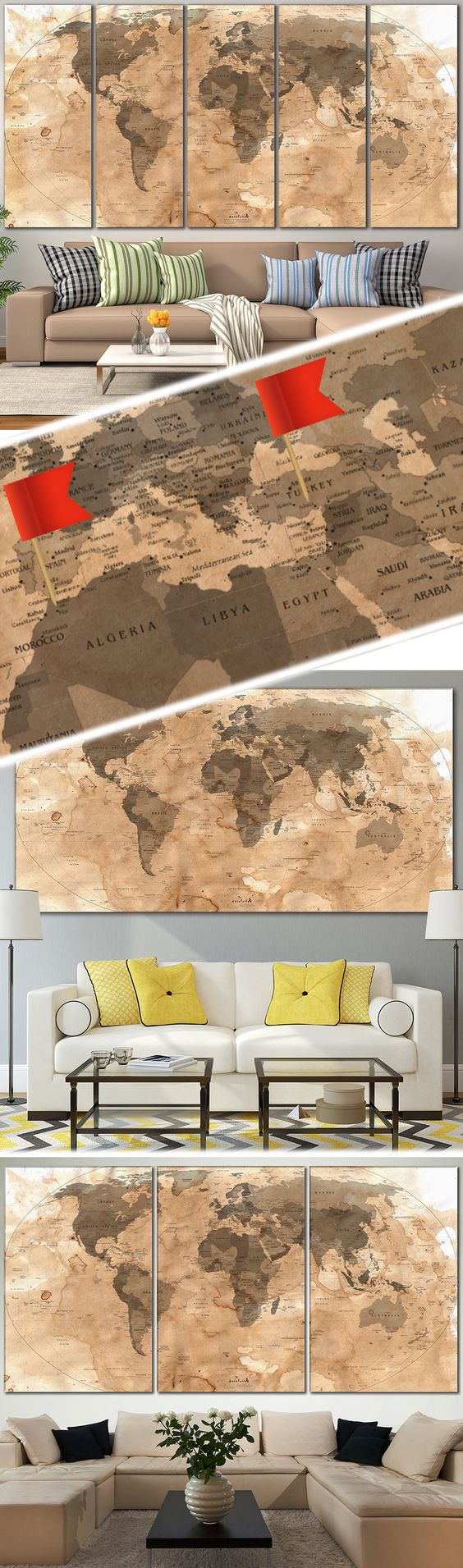 Push pin world map 800 canvas print zellart canvas arts map creative world map canvas prints wall art for large home or office wall decoration sale gumiabroncs Gallery