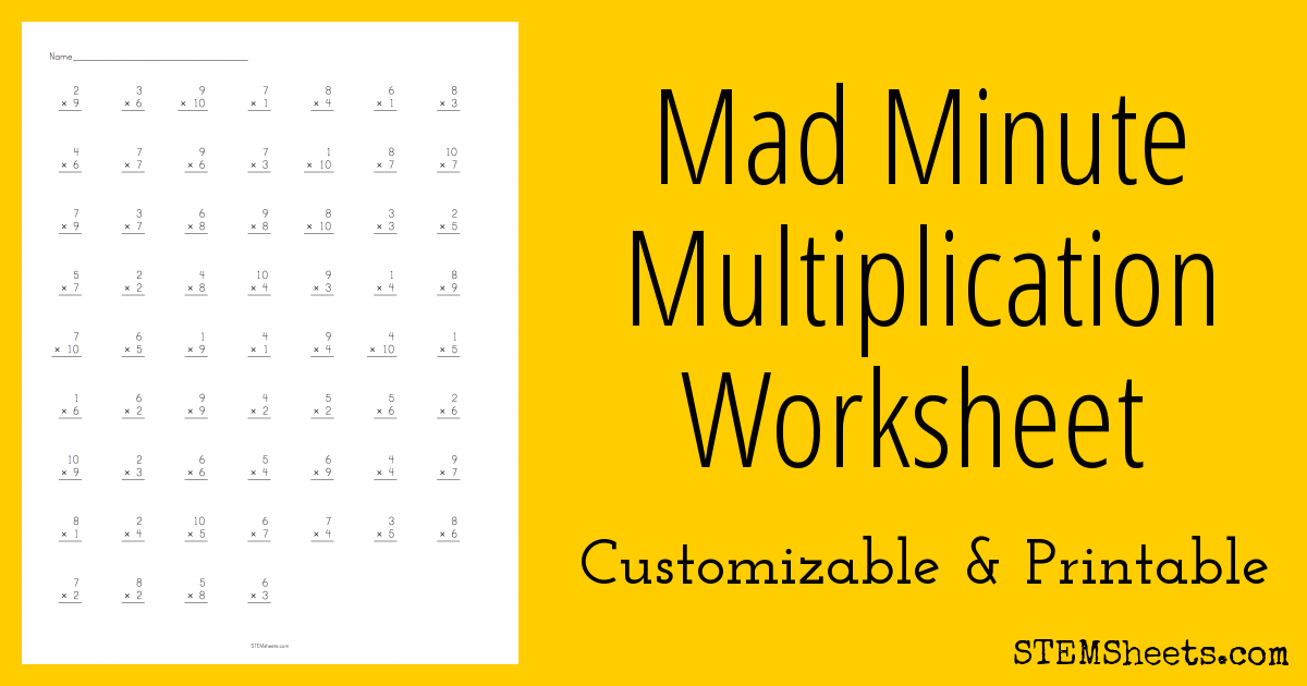 Quickly customize and print mad minute multiplication worksheets ...