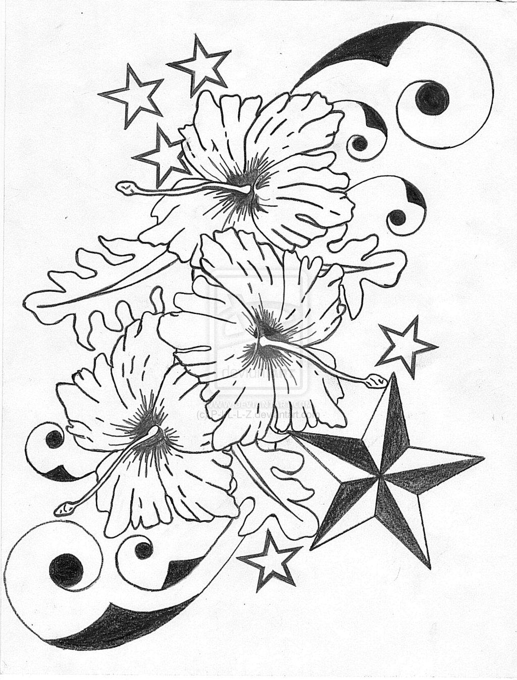 Hibiscus Flower Tattoo Stencil: Hibiscus-flower-n-nautical-star-tattoo-designs.jpg (1024