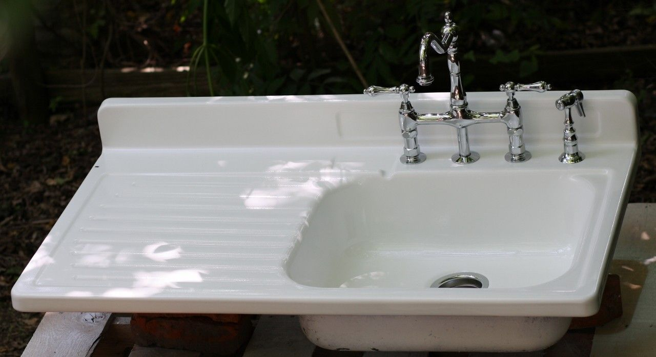 Farmhouse Sink W Drainboard Left Hand Side Kitchen Sink