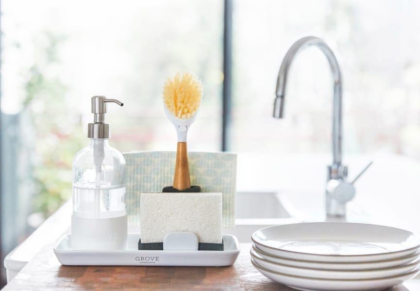 Grove Collaborative Sink Caddy And Modern Stoneware Tray Set Kitchen Sink Decor Best Kitchen Sinks Kitchen Soap Dispenser