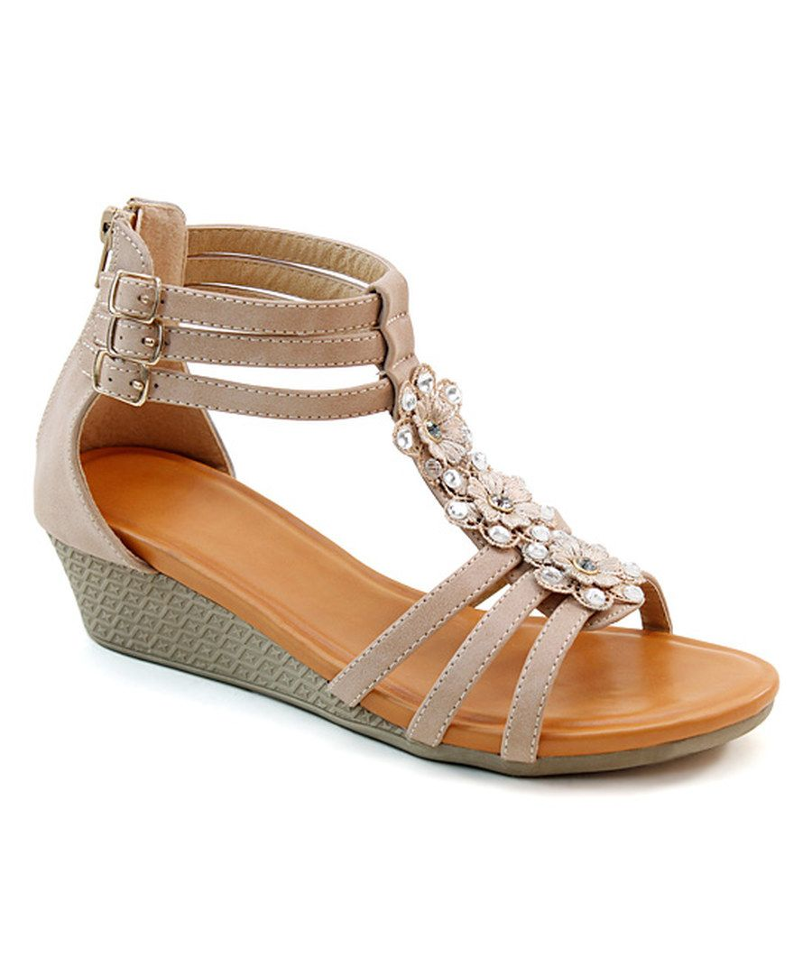 8857ef6c0a6ad Look at this Italina Natural Rhinestone Daisy Sandal on  zulily today!